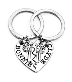 Silver Thelma Louise Key Chain Set Partners in Crime Best Friend Keychains Stamped Jewelry by Bonnie Clyde (Key Chain 04) - Brought to you by Avarsha.com