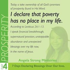Today in our 4th day of declarations we will be speaking blessings over our FINANCES. It's not the will of God that we are lacking in our basic needs. The enemy trays to stop our prosperity because he wants to stop our purpose. (We need finances in order to bring Gods will to earth). Let's cancel all evil opposition against our PROSPERITY and let's speak blessings and increase over all our financial sources in Jesus Name! #prayer #prayers #declaration #pray #jesus #bibleverse #bible…