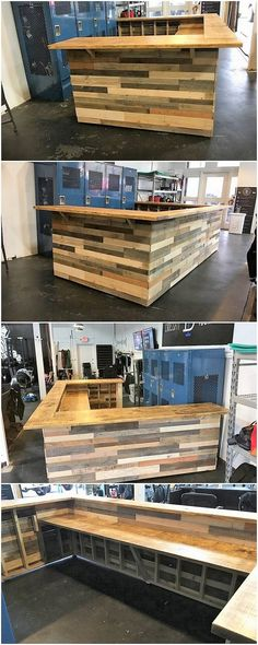 This creation of wood pallet amazing counter table has been resolved with the brilliant outcomes of the attractiveness and modish touch into it. It is being structured in the similar hues of planks design. Bring it in your home right now!