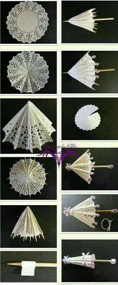 Everything used to make these can be bought at a dollar store. Small paper doilies wood skewers thin ribbon and some beads. Hobbies And Crafts, Diy And Crafts, Crafts For Kids, Arts And Crafts, Doilies Crafts, Paper Doilies, Diy Paper, Paper Art, Paper Crafts