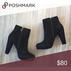 NIB Steve Madden Suede Platform Bootie I'm in love with these! Super soft suede. Fits TTS. I'm a 9/9.5 typically a 9.5 in heels and a 9.5 fit me perfectly. Steve Madden Shoes Ankle Boots & Booties
