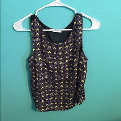 Tank with Neon Yellow pattern Sheer dip detail in the back Lush Tops Tank Tops