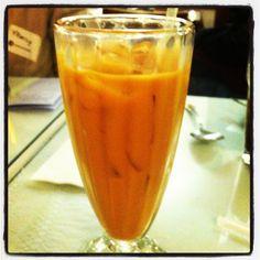 Thai iced tea with half and half and made with tree bark at Esan Thai taste like a pumpkin iced latte! at #dishcrawl #btown #Restaurants