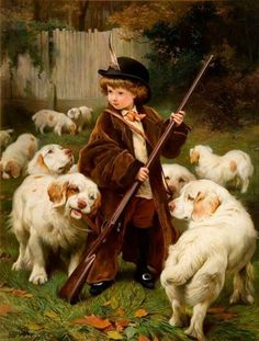 """The New Keeper"" by English artist - Charles Burton Barber Oil on canvas, 107 x 84 cm.), The New Art Gallery - Walsall (United Kingdom - Walsall, Greater Birmingham). Clumber Spaniel, Art And Illustration, Photo Humour, Animal Painter, Art Vintage, Victorian Art, Dog Art, Beautiful Paintings, Norfolk"