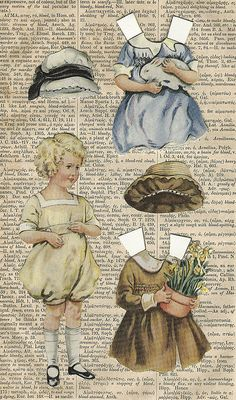 paper dolls on an old book page