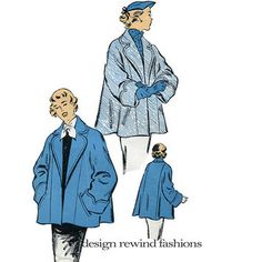 raglan sleeve coat pattern vintage - Google Search Modern Sewing Patterns, Vogue Sewing Patterns, Coat Patterns, Vintage Patterns, 50s Vintage, Vintage Ladies, Vintage Dress, Blanket Coat, Swing Coats
