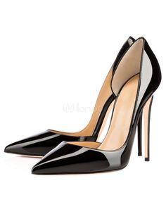 Chaussures à talons aigus noir en PU verni mocassin de polyuréthane