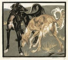 Salukis, Linocut by Norbertine von Bressler-Roth, about 90 years old.