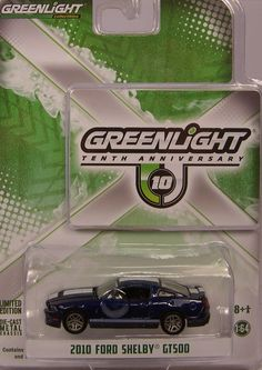 GREENLIGHT COLLECTIBLES 1:64 10TH ANNIVERSARY BLUE 2010 FORD SHELBY GT500 #GreenlightCollectibles #Ford