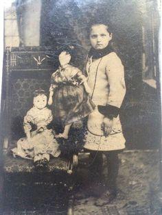 RARE ANTIQUE TINTYPE PHOTO Civil War Era Girl ANTIQUE DOLLS Bisque & Cloth | eBay