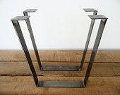 """28"""" Trapezoid Table Legs Flat Steel, Height 26"""" - 30"""" , SET(2)"""