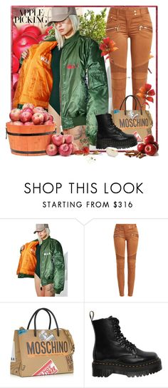 """""""Apples III"""" by crisvalx-cv ❤ liked on Polyvore featuring W.I.A, Balmain, Moschino, Dr. Martens and applepicking"""