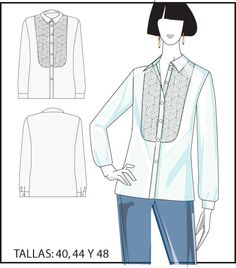 Camisa con pechera bordada