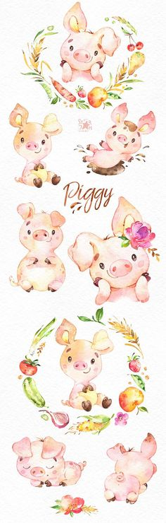 This Piggy watercolor set is just what you needed for the perfect invitations, craft projects, paper products, party decorations, printable, greetings cards, posters, stationery, scrapbooking, stickers, t-shirts, baby clothes, web designs and much more.  :::::: DETAILS ::::::  This