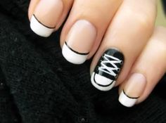 CHUCKS!!!  Converse sneaker nails aka chuck Taylor fingernails.  Love this!!