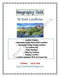 landforms- good design for a unit. could use some of the activities throughout the week to teach about earths landforms