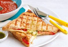 With gooey cheese and a yummy malunggay spread, this grilled sandwich is perfect for dunking into the Roasted Tomato and Ginger Soup. You'll get layer upon layer of flavors and textures!