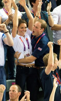 Kate Middleton, Duchess Of Cambridge, And Prince William In A PDA At The Cycling At The London Olympics, 2012