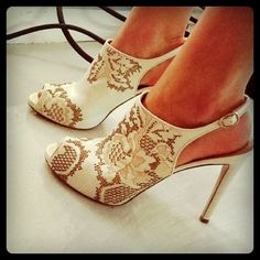 Start your bridal look from the feet up in lace Valentino shoe boots #Wedding