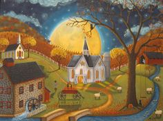 Browse through images in Mary Charles' Mary Charles--Folk Art collection. A collection of folk art by Pennsylvania artist, Mary Charles Primitive Folk Art, Moon Art Print, Art Painting, Moon Art, Americana Art, Naive Art, Art, Autumn Art, Country Art