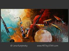 Canvas painting by Lena Karpinsky ⋆ Curaçao Blue Jazz ⋆ buy now or order a commission. Original home decor art for your home interior.