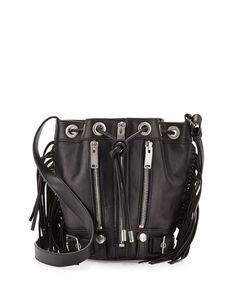 Saint Laurent Rider Small Fringe Bucket Crossbody Bag, Black