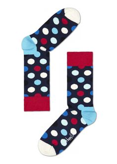 Big Dot cool socks for both men & women HappySocks.com Blue/Red/White