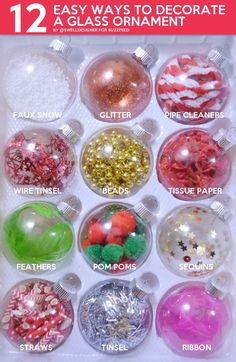 12 Easy Ways To Decorate A Glass Ornament - - DIY these baubles in minutes with cheap, crafty supplies you already have on hand! Kids Christmas Ornaments, Christmas Crafts For Kids, Diy Christmas Gifts, Simple Christmas, Holiday Crafts, Diy Ornaments, Christmas Party Activities, Custom Ornaments, Homemade Ornaments