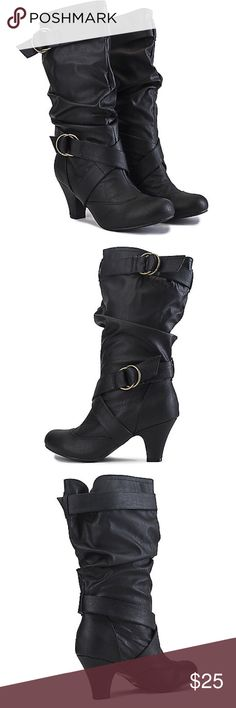 Black Leather Boots (Mid-Calf Height) In great condition, only worn a few times, goes great with jeans and a casual or dress top Sheik Shoes Heeled Boots