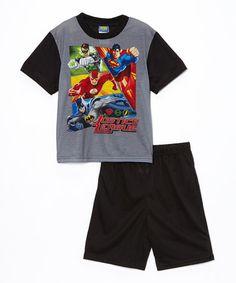 Look at this #zulilyfind! Gray & Black Justice League Pajama Set - Boys #zulilyfinds