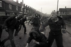 Rioters throwing stones during the hunger strike of Bobby Sands, Northern Ireland, 1981. - Imgur
