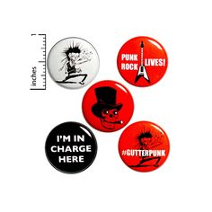 Punk Rock Button 5 Pack Backpack Pins Gutterpunk I'm In Charge Here Punk Rock Zombie Guitar Skull Top Hat Cigar Pinback Badge 1 Backpack For Teens, Teen Backpack, God Save The Queen, Funny Buttons, Cheap Gifts, Glam Rock, Pin Badges, Punk Rock, Packing