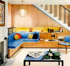 Living Room (1956) love the seating / shelving and blue cushions