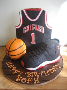 Chicago Basketball & Air Jordan Cake The cake is half ball top & the shoes =)