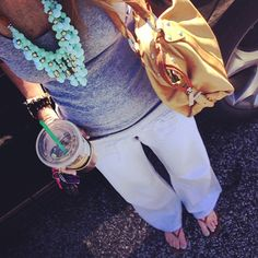 Easy, pulled together errands outfit: Linen pants, gray tank, necklace.