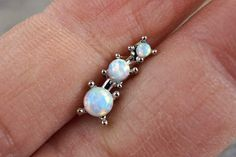 3 White Fire Opals Stud Cartilage Earring Piercing 16g