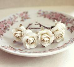 White Roses Hair Pins Paper Flowers Woodland by rosesandlemons