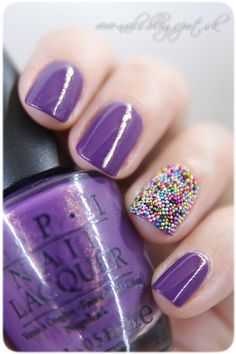 Caviar Manicure with purple and beads nail art. #nails #nailart #manicure #nailpolish