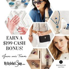 It's the Perfect Time to Start a Side Gig! There's NEVER been a better time to join our Magnolia and Vine Team. Enroll and choose our Social Essentials Kit in the month of October and - you can earn $199 in Retail Product Credit, - ***PLUS*** a $199 CASH BONUS Click on the image to get the details at MyStyleInASnap.com