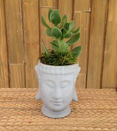 Concrete Plant Pots, Mix Concrete, Concrete Color, Decorative Planters, Concrete Planters, Decorative Items, Buddha Head, Buddha Buddha, Pastel Home Decor