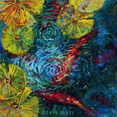 Official website of Iris Scott, finger painting artist working in Brooklyn NY. Koi Painting, Artist Painting, Artist Art, Finger Paint Art, Finger Painting, Ouvrages D'art, Impressionist Paintings, Art Abstrait, Fish Art