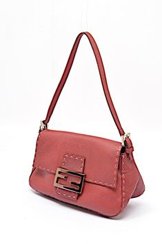 74a84aca18ce Fenaroli Fendi Selleria Pebble Adj Strap Handbag Stitching Mini Red Leather  Shoulder Bag. Get one