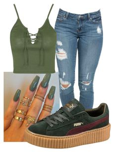 """Green Bordeaux Rihanna Creepers"" by aglover693 ❤ liked on Polyvore featuring Puma and Topshop"