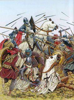 Crusader knights fighting muslims.