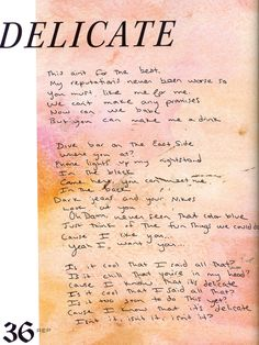 TSWIFTDAILY | i learned a lot from ethel kennedy — tswiftly: Handwritten lyrics from Reputation...