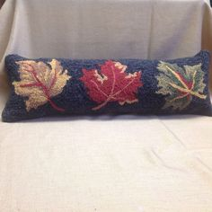 Pillow Halloween Fall 8x24 Hooked 3 Leaves