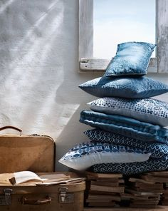 Denim pillow stack.