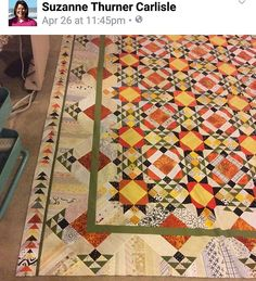 Suzanne is a member of my Quilville's Open Studio group on Facebook. Check out her extended Allietare borders! YOWZA! I love it when you use my designs as a jumping off point and go with your own expanded vision of what you want your quilt to be. This is fabulous! The pattern for Allietare is found in the digital downloads section of the Quiltville Store. Http://quiltville.com #quilt #quilting #patchwork #quiltville #bonniekhunter #quiltsbyyou #allietarequilt