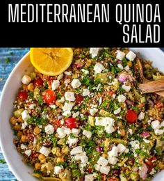 This easy Mediterranean Quinoa Salad is easily my favorite quinoa salad recipe that I've ever made. It is so full of flavor. Make this one for your next family dinner, and you will have a glow of satisfaction that comes from serving something that everyone loves. Best Quinoa Recipes, Vegetarian Salad Recipes, Healthy Gluten Free Recipes, Vegan Meals, Mediterranean Quinoa Salad, Mediterranean Meals, Healthy Meats, Healthy Eating, Dinner Salads