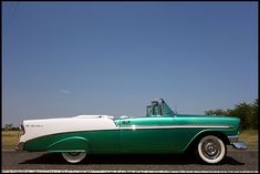1956 Chevrolet Bel Air Convertible--I think this is what my Dad had.  I know he said it was a 56, green with white interior (I'm not sure if it was a convertible or not).  But it was new when he got it.